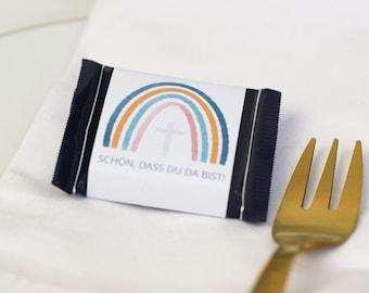 """Banderole """"Schön, dass du da bist"""" für RitterSport mini, zur Konfirmation/Kommunion, Regenbogen, digitale Datei zum Ausdrucken"""