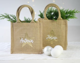 Small gift bag personalized with name, St. Nicholas Christmas, gold