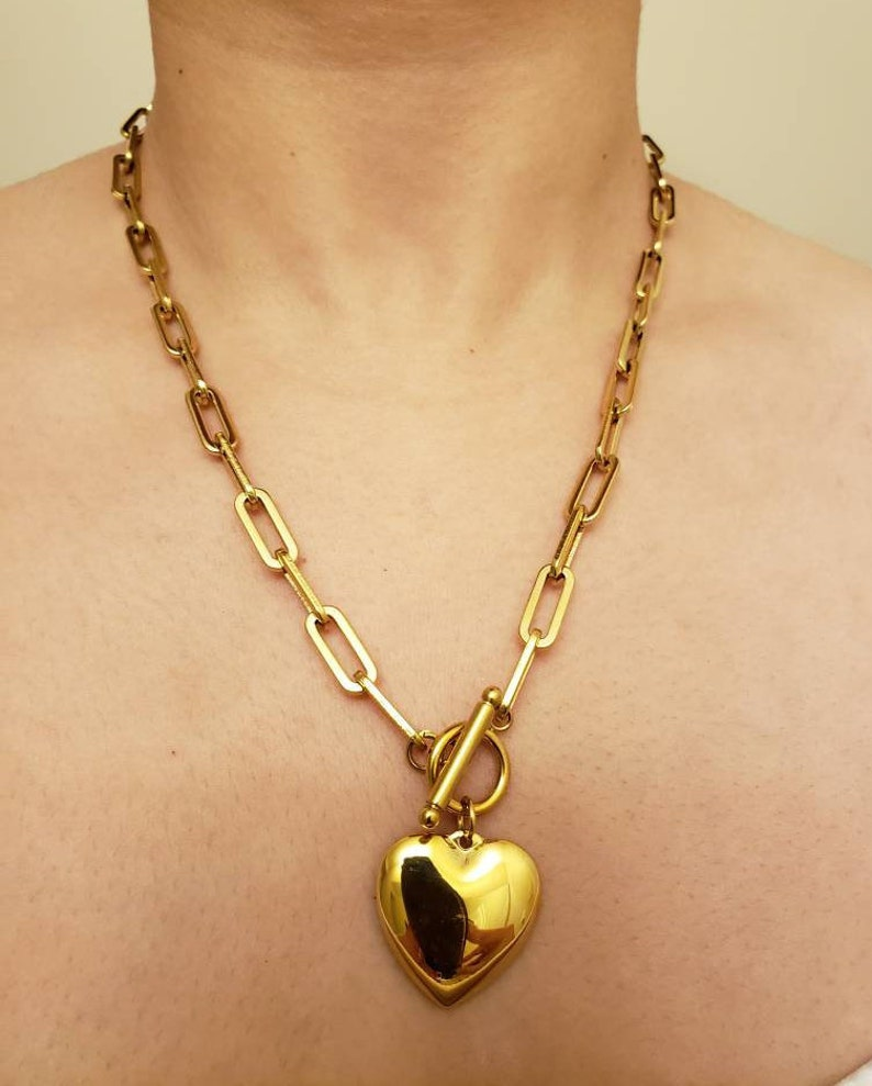 heart gold necklace gold necklace Buckle Heart pendant Chain Necklace, Gold link necklace heart necklace heart link necklace