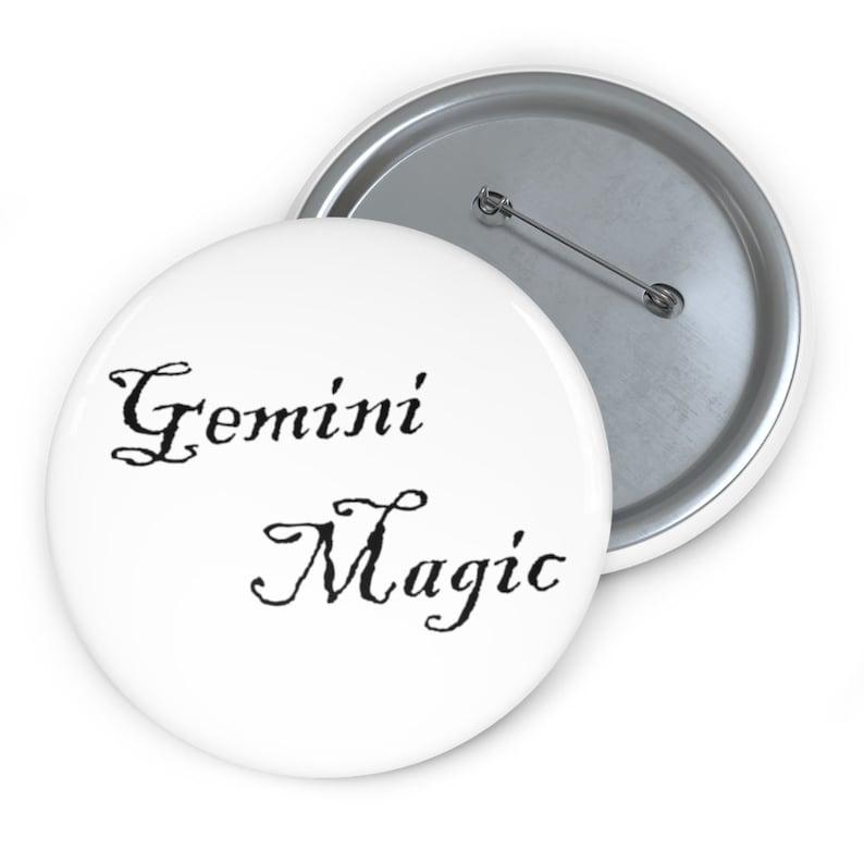 white Gemini Magic Custom Pin Buttons