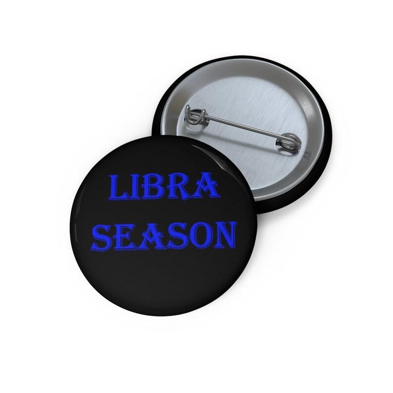 Libra Season Pin Button blue text