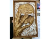 wooden carved painting, quot old man 39 s Face quot , wood, interior, beautiful gift, on the wall, solid beech, handmade, hand-painted, high quality