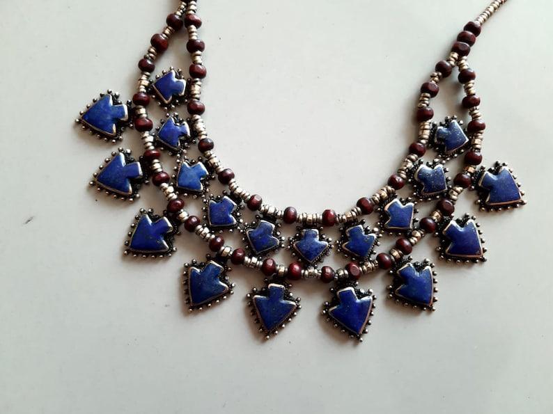 Tribal kuchi double layer fashion lapis lazuli beaded necklace