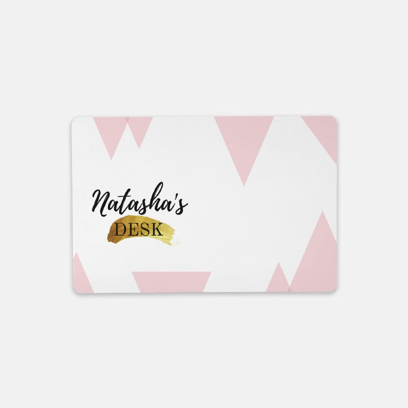 Desk Mat Rectangular Personalized White gold pink triangles Desk Mat Office gift pink office design gift under 20 mother/'s day gift