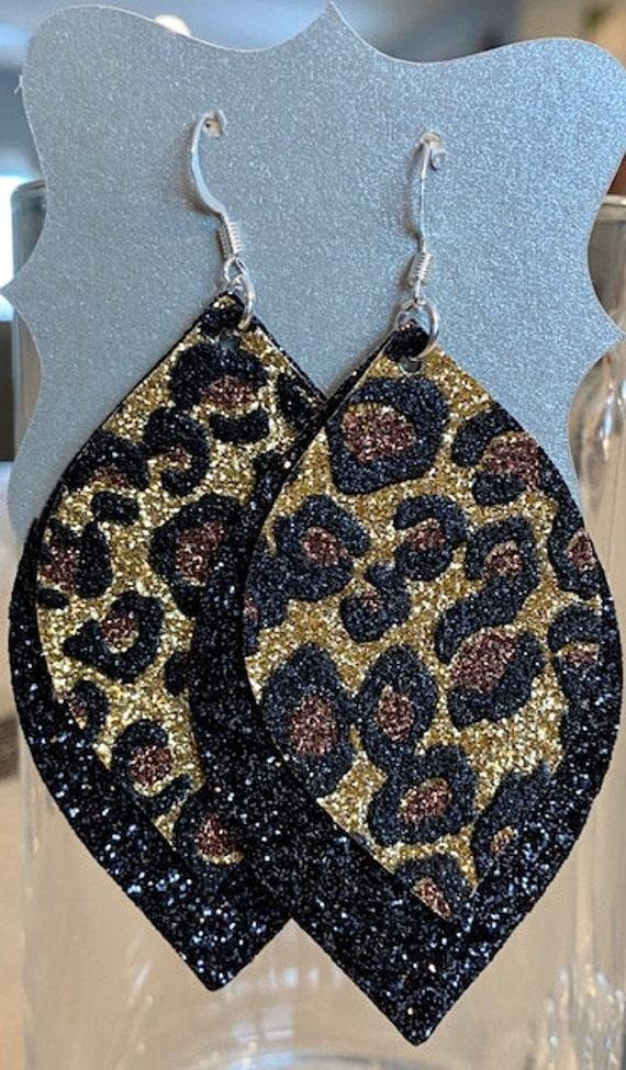 Black Leopard Faux Leather Earrings
