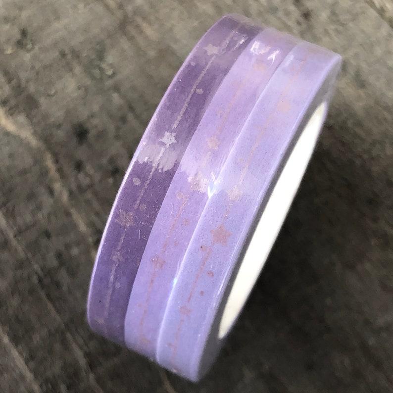 Lilac Skinny Tape 3 rolls 5mm x 10m Bullet Journaling Tape 3 pack slim Purple Silver Stars Washi Tape