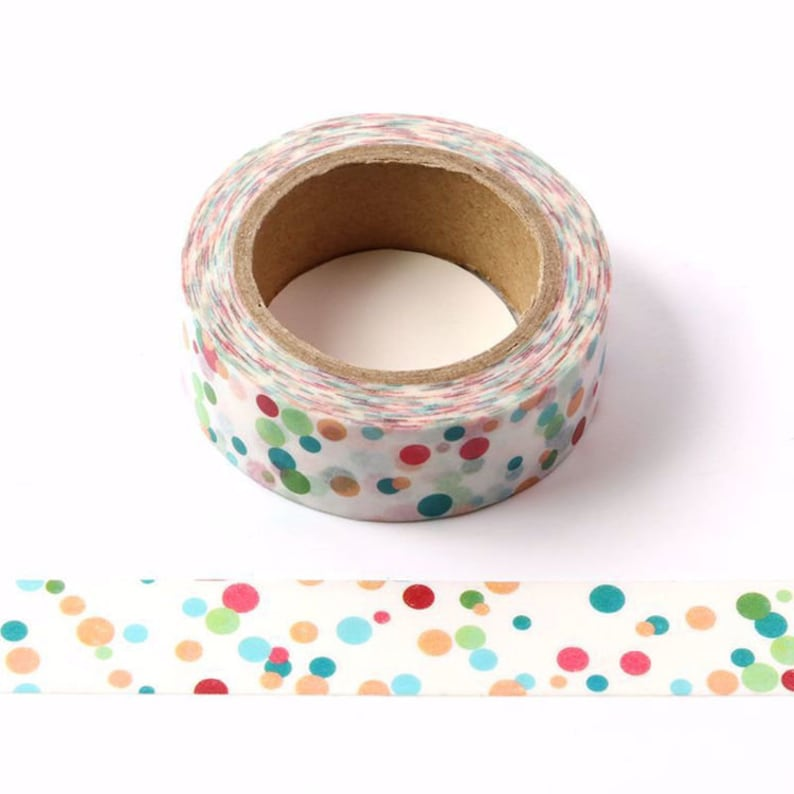 Rainbow Bubbles Washi Tape 15mm x 10m roll Colorful Dots Party Sticker Polkadot Paper Tape Junk Journal Tape