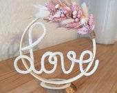 Mini Trockenblumenring mit Wollschriftzug