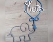 Elefant mit Ballon und Namen Schriftzugauswolle