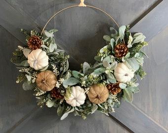 Fall Hoop Wreath, White Pumpkin Wreath, Farmhouse Fall, Neutral Fall Wreath, Thanksgiving Wreath, Fall Boho Gold Hoop Wreath