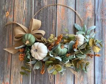 Modern Farmhouse Fall Hoop Wreath, Pumpkin Wreath, Neutral Pumpkin Wreath, Thanksgiving Wreath, Fall Boho Gold Hoop Wreath