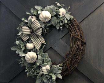 White Pumpkin Farmhouse Wreath