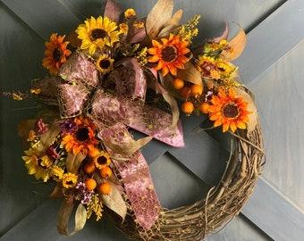 Rustic Sunflower Wildflower Fall Wreath, Autumn Decor