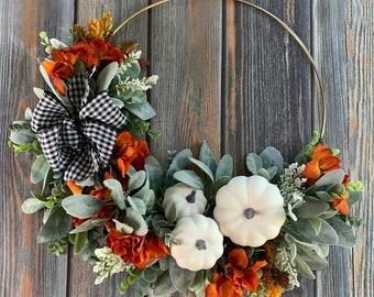Fall Hoop Wreath, Pumpkin Wreath, White Pumpkin Wreath, Thanksgiving Wreath, Fall Boho Gold Hoop Wreath