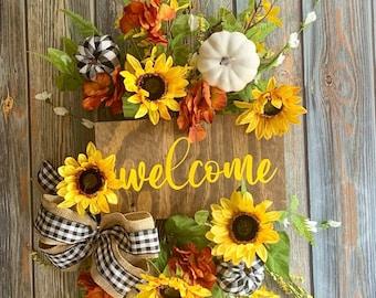Fall Sunflower Door Hanger, Buffalo Plaid Pumpkin Door Swag, Fall Door Spray, Farmhouse Wreath
