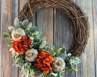Gray Pumpkin Fall Wreath, Fall Hydrangea and Matte Gray Pumpkin Fall Wreath