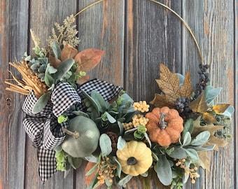 Neutral Fall HoopWreath, Pumpkin Wreath, Neutral Pumpkin Wreath, Thanksgiving Wreath, Fall Boho Gold Hoop Wreath