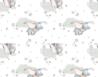 Dumbo Cotton Fabric by the Yard - Disney Dumbo in the Sky White - Camelot 85160108-1