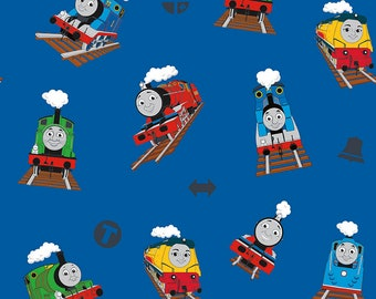 Thomas the Train Fabric by the Yard - All Aboard with Thomas and Friends - Main Blue - Riley Blake C11000-BLUE