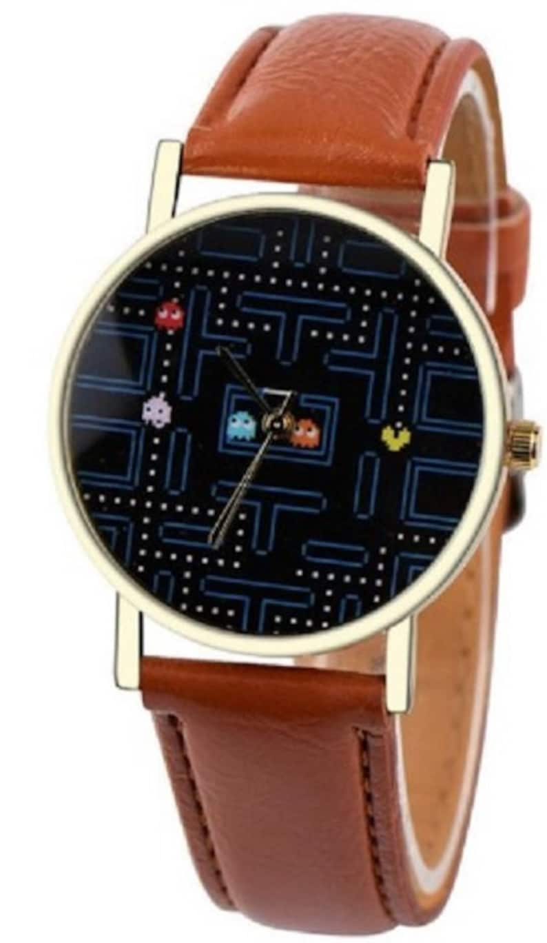 Pac-Man Game Screen Watch with Brown Leather Strap