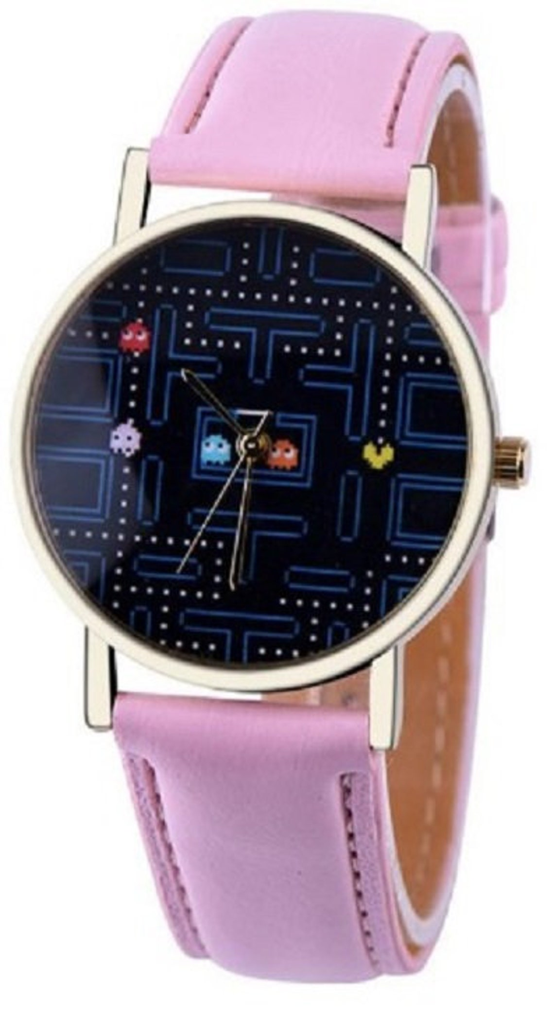 Round Pac-Man Watch with pink leather strap
