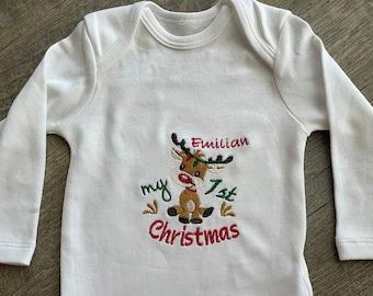 Christmas Baby Bodysuit, Customizable Bodysuit for Babies, Gift for Christmas, Birth Gift, Reindeer, Boy, Girl