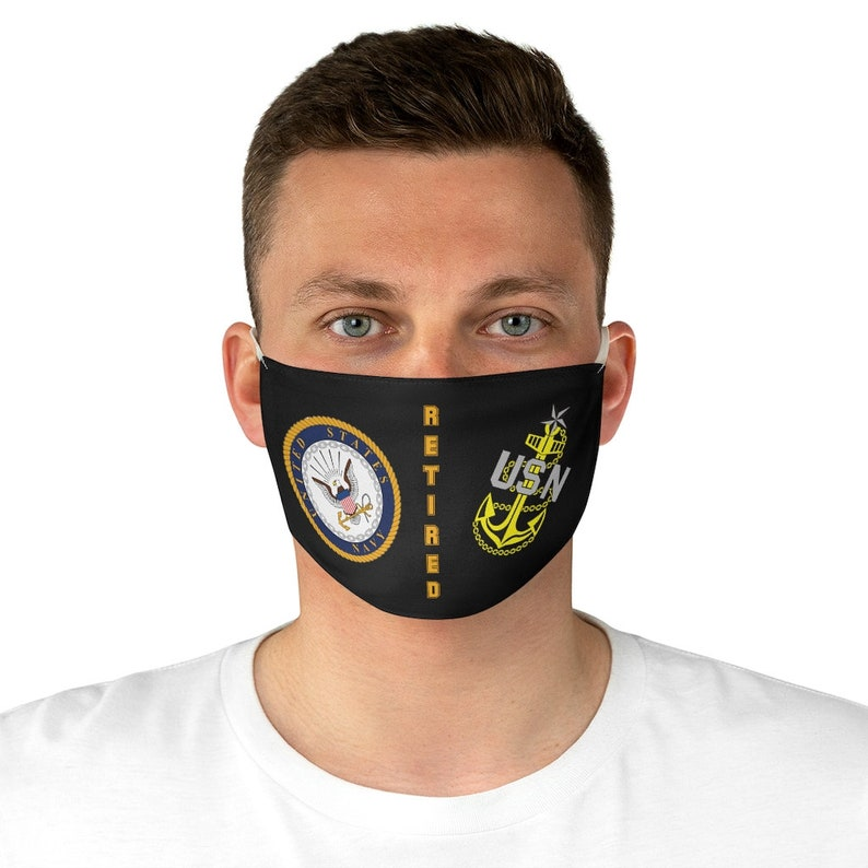 U.S. Navy Senior Chief Petty Officer Retired Fabric Face Mask image 0