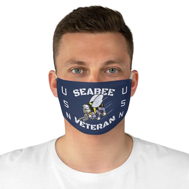 Seabee Veteran US Navy USN Fabric Face Mask image 0