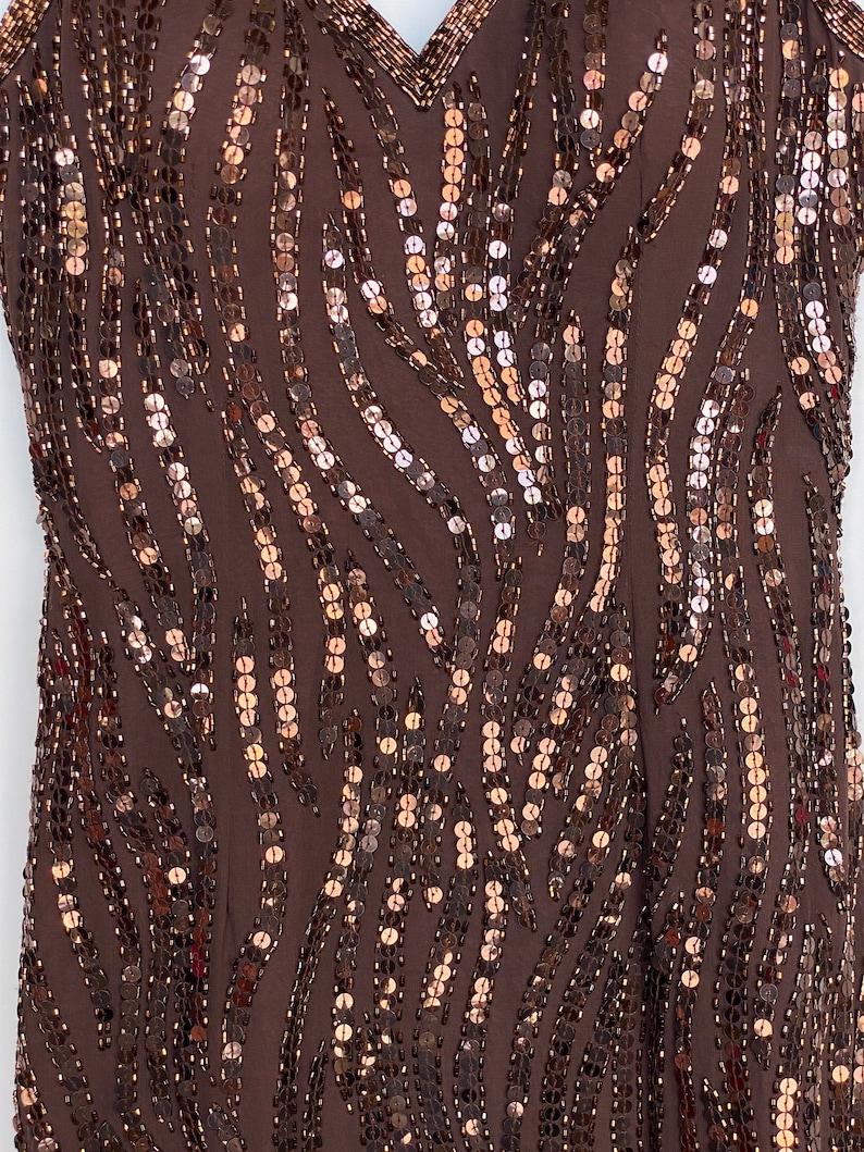 Vintage A.J Bari silk rayon beaded cocktail evening dress  size 4