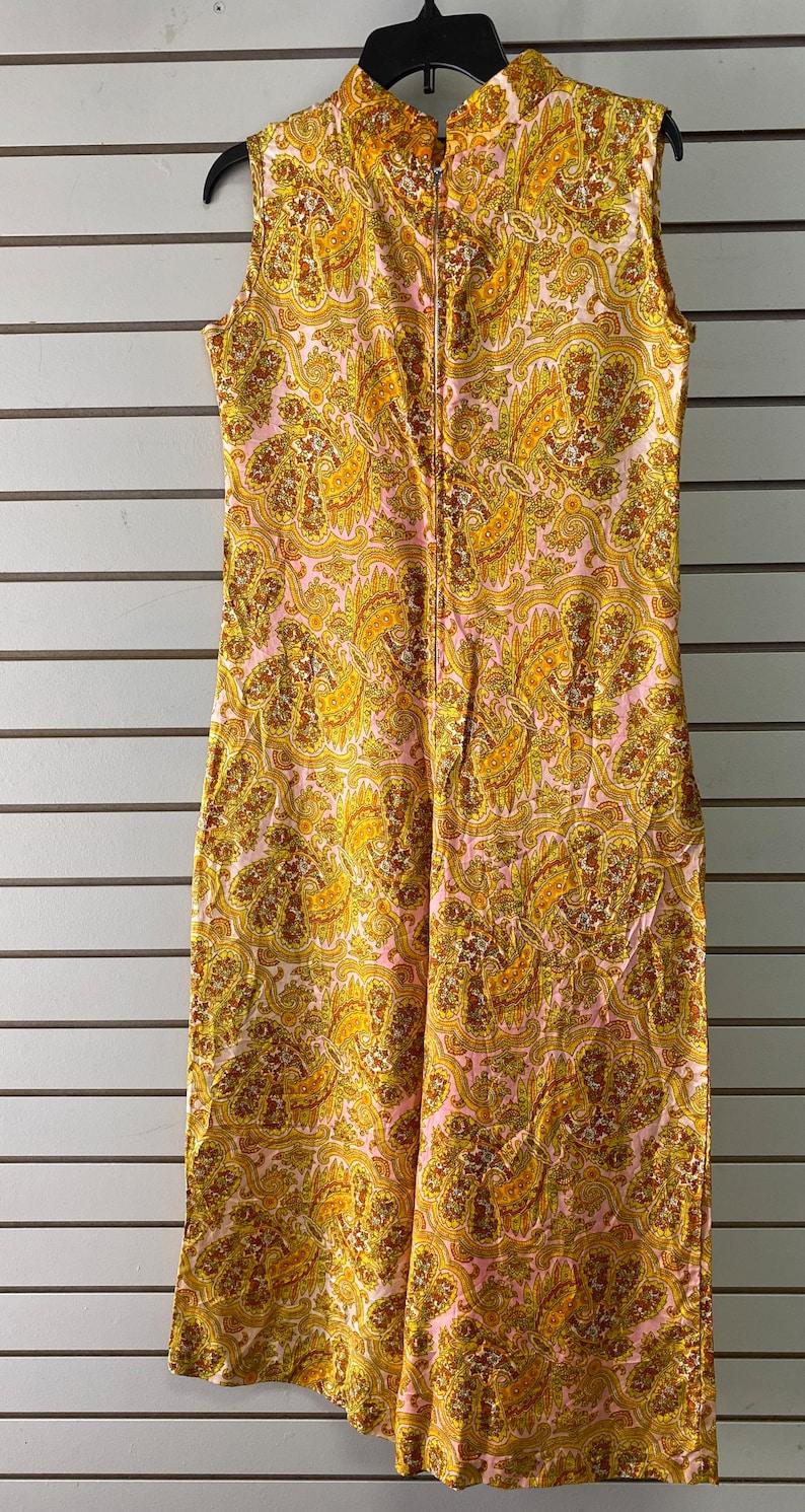 60\u2019s leisure Lady loungewear jumpsuit w ruffles and pockets