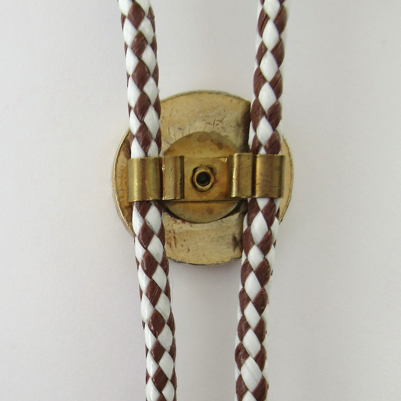 Vintage Ford Model T Bolo Tie Slider on Brown and White Cord