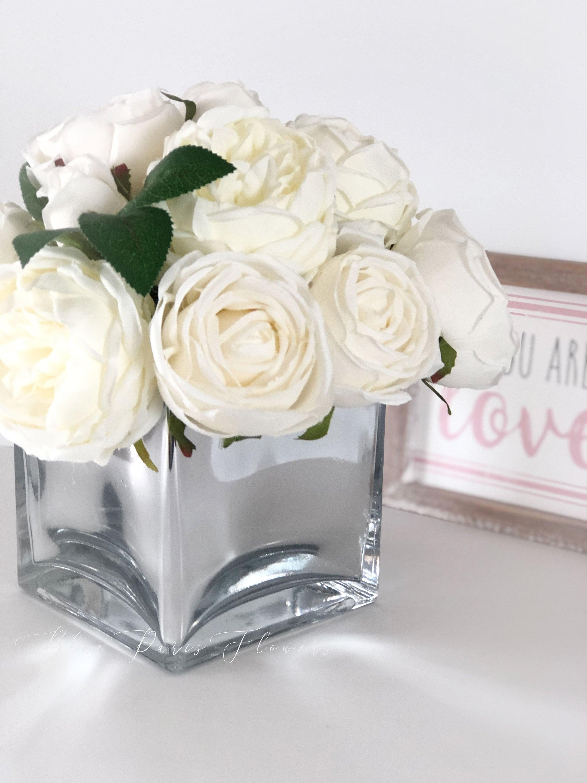White Austin Roses Faux Flower Arrangement Floral Home Decor Silk Artificial Centerpiece In Mirror Vase