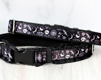Moon and star collar, Tarot collar, Skull collar,Moon dog collar, Witchy pet collar , Moon Cat collar, Skull cat collar,Halloween dog collar