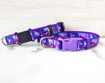 Moon and star dog collar, Space dog collar, Galaxy dog collar, Witchy, Moon and star cat collar, Galaxy cat collar , Moon and star