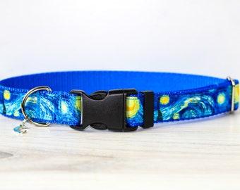 Van Gogh Starry Night Dog Collar, Dog Collar, Blue Dog Collar, Cat collar, Starry Night, Starry night cat collar , Starry night cat collar