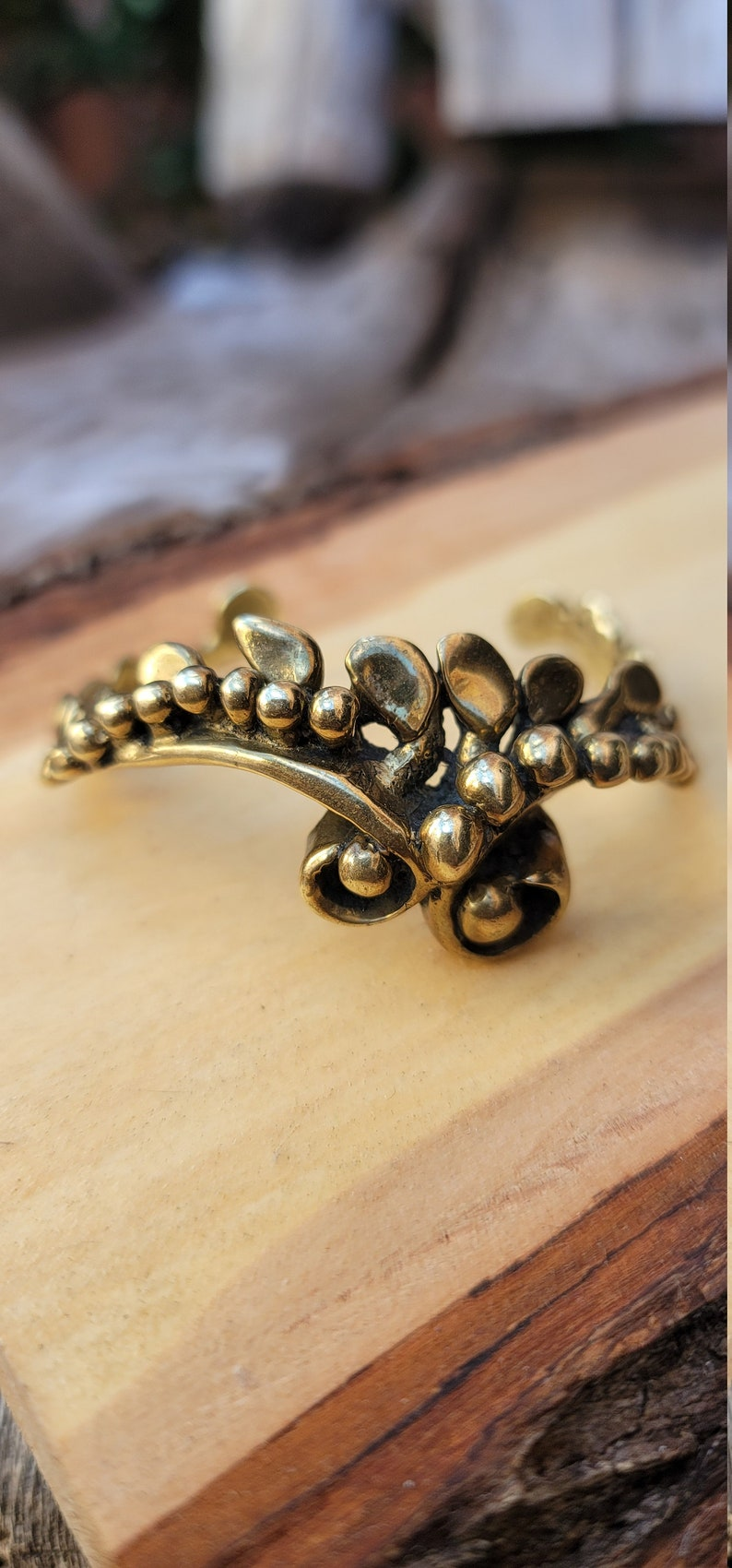 RARE Mid Century Brutalist Bracelet~ Unique Brutalist Brass Scroll Cuff~ 60/'s