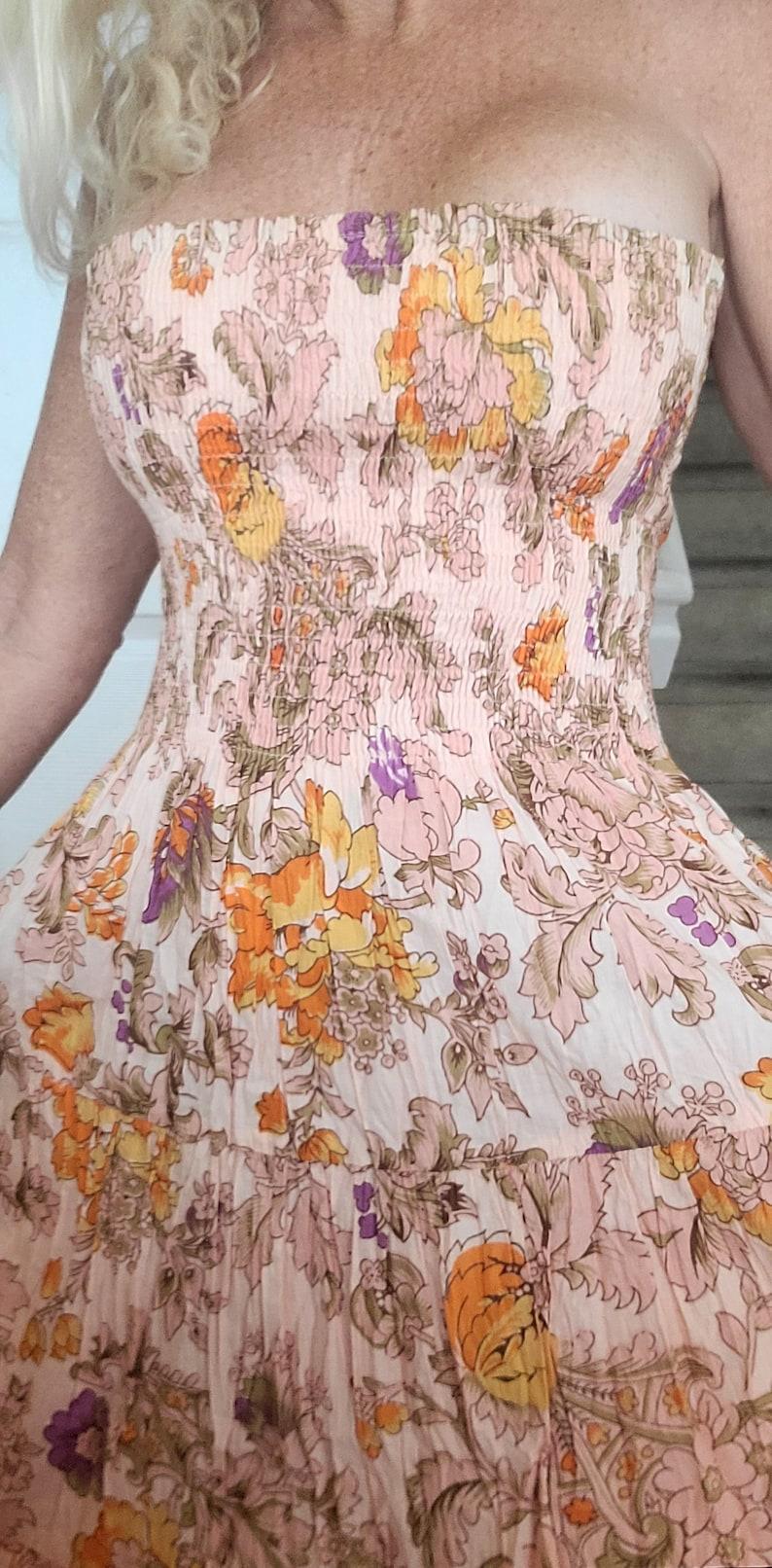 Beautiful Vintage LANZ Floral Sleeveless Sun Dress Size Small