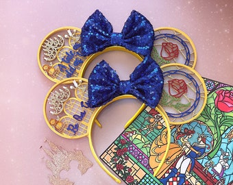 Be Our Guest Tale as old as Time Enchanted Rose Mouse Ear Headband