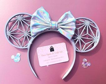 Iridescent Silver Spaceship Mouse Ears Headband