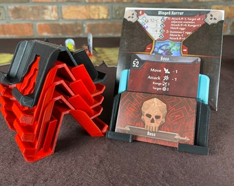 Next Generation Stackable Monster Ability Deck and Stat Sheet Holders - Frosthaven - Gloomhaven - Jaws of The Lion Accessories - MAD Stacker