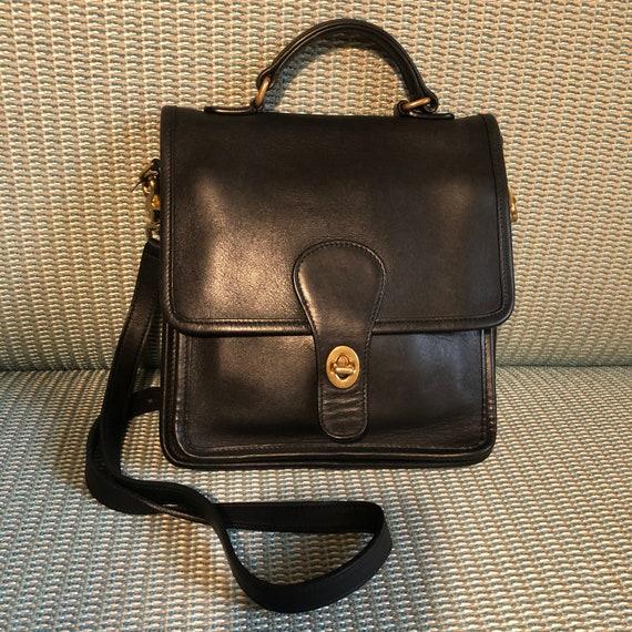 Vintage COACH Willis Station Black Leather Bag Coa