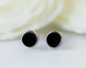Small Black Circle Stud Earrings Pair 925 Nickel Free Sterling Silver Disk Studs