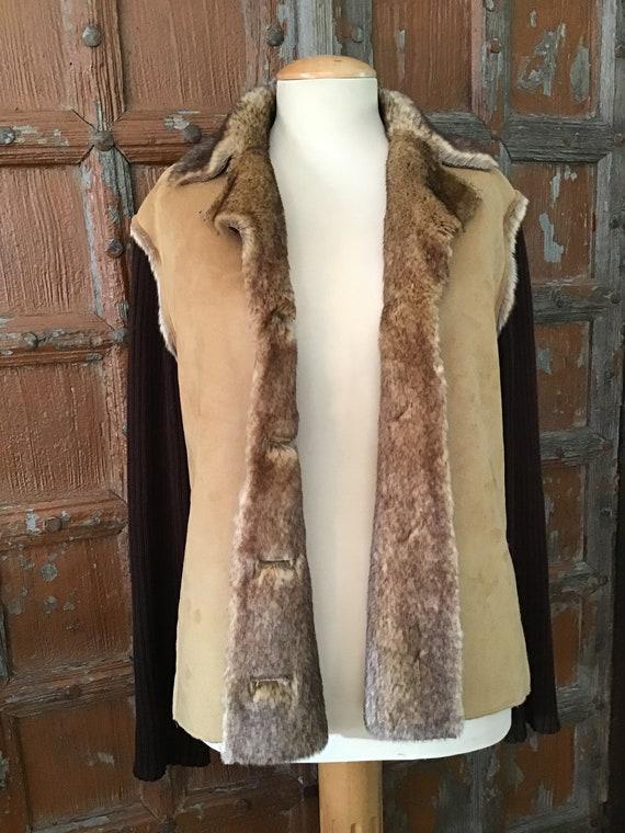 Vintage coat with shearling/ boho blazer/ Canadian