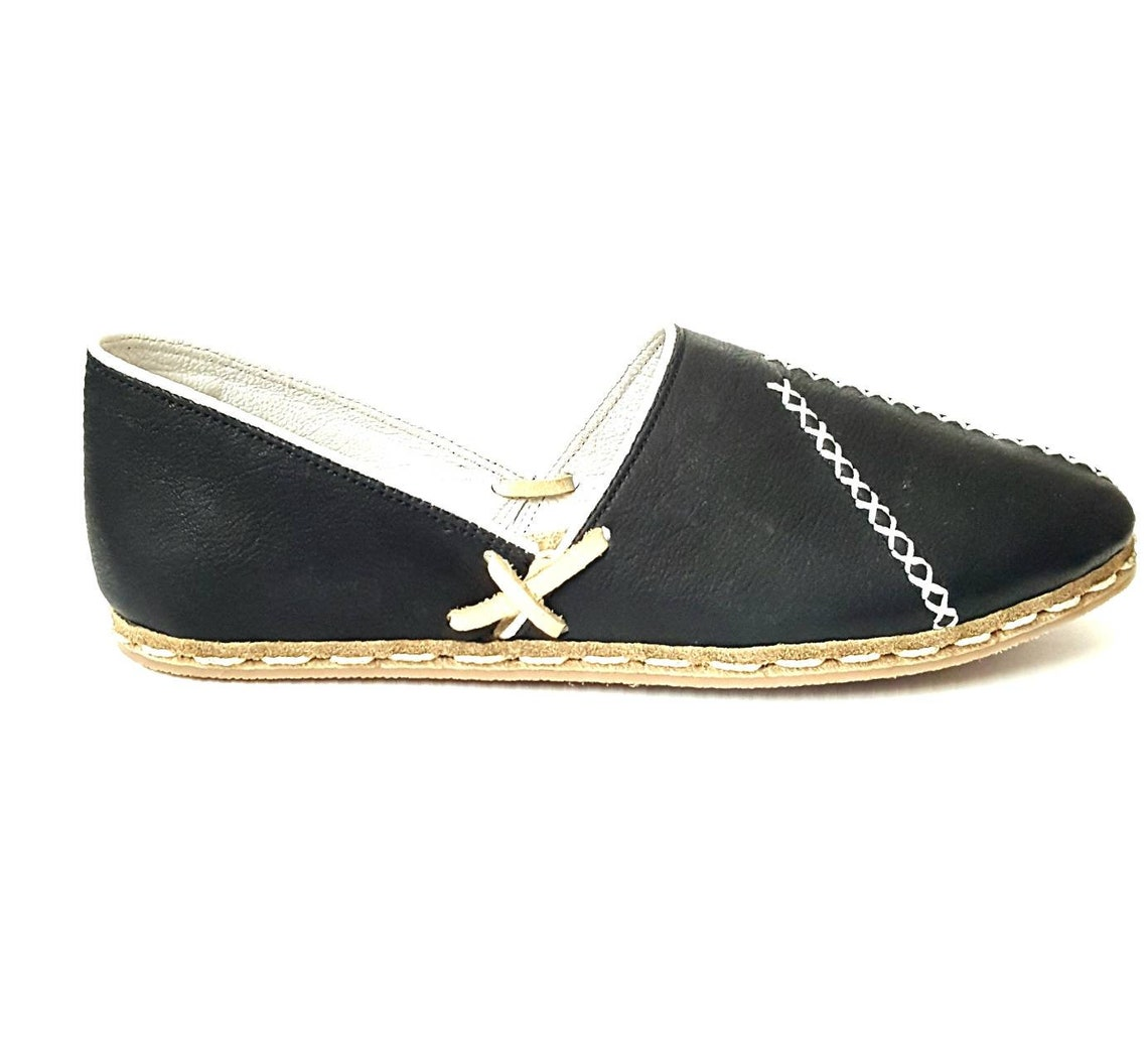 In Stock Handmade Black Organic Dye 100% Leather Flat Slip Ons Women Loafers Classic Lu Earthing Grounding Shoes