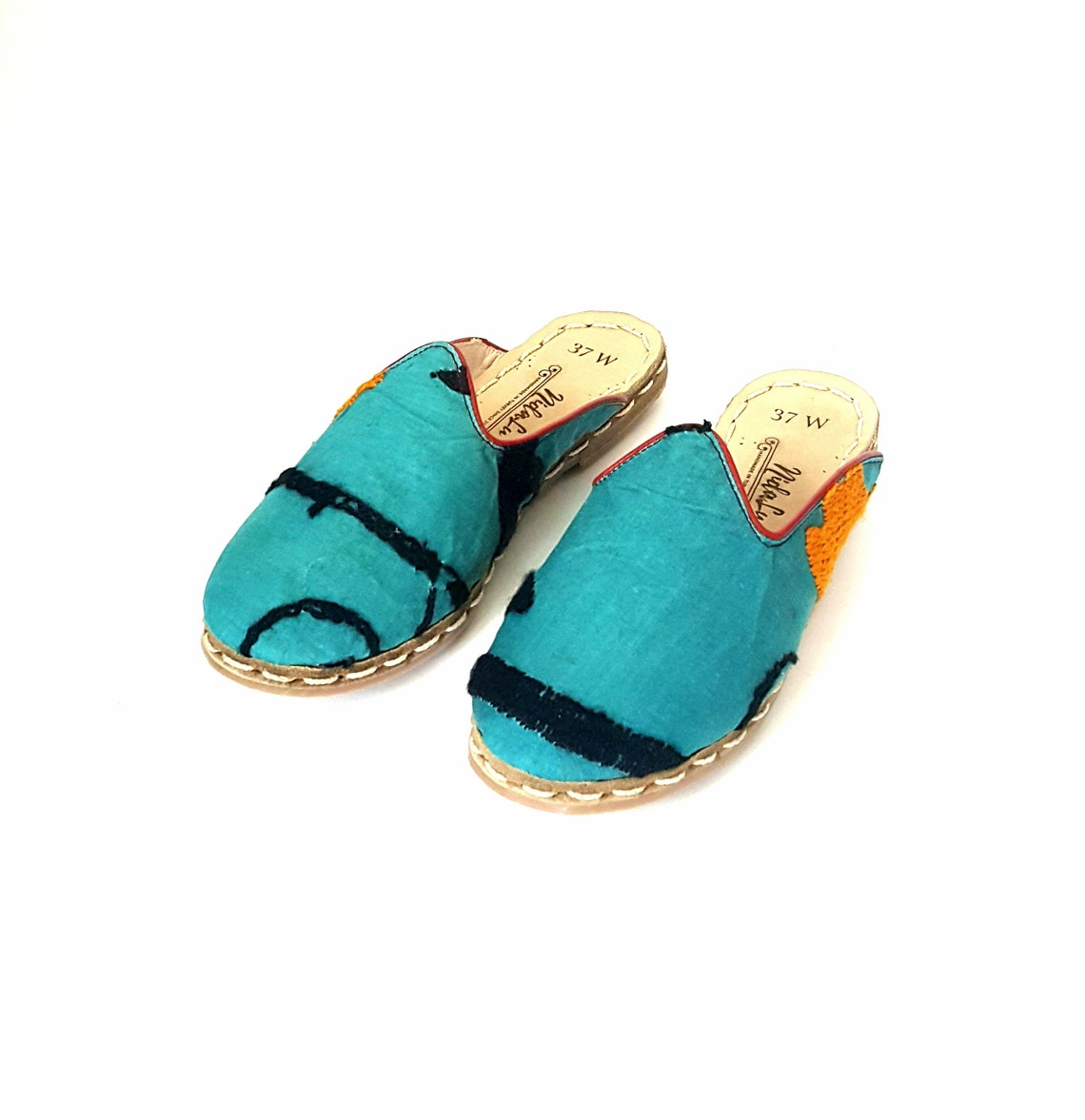 In Stock One Of A Kind Handmade Vintage Suzani Mules Slippers Organic Dye  Leather Flat Slip Ons Women Loafers