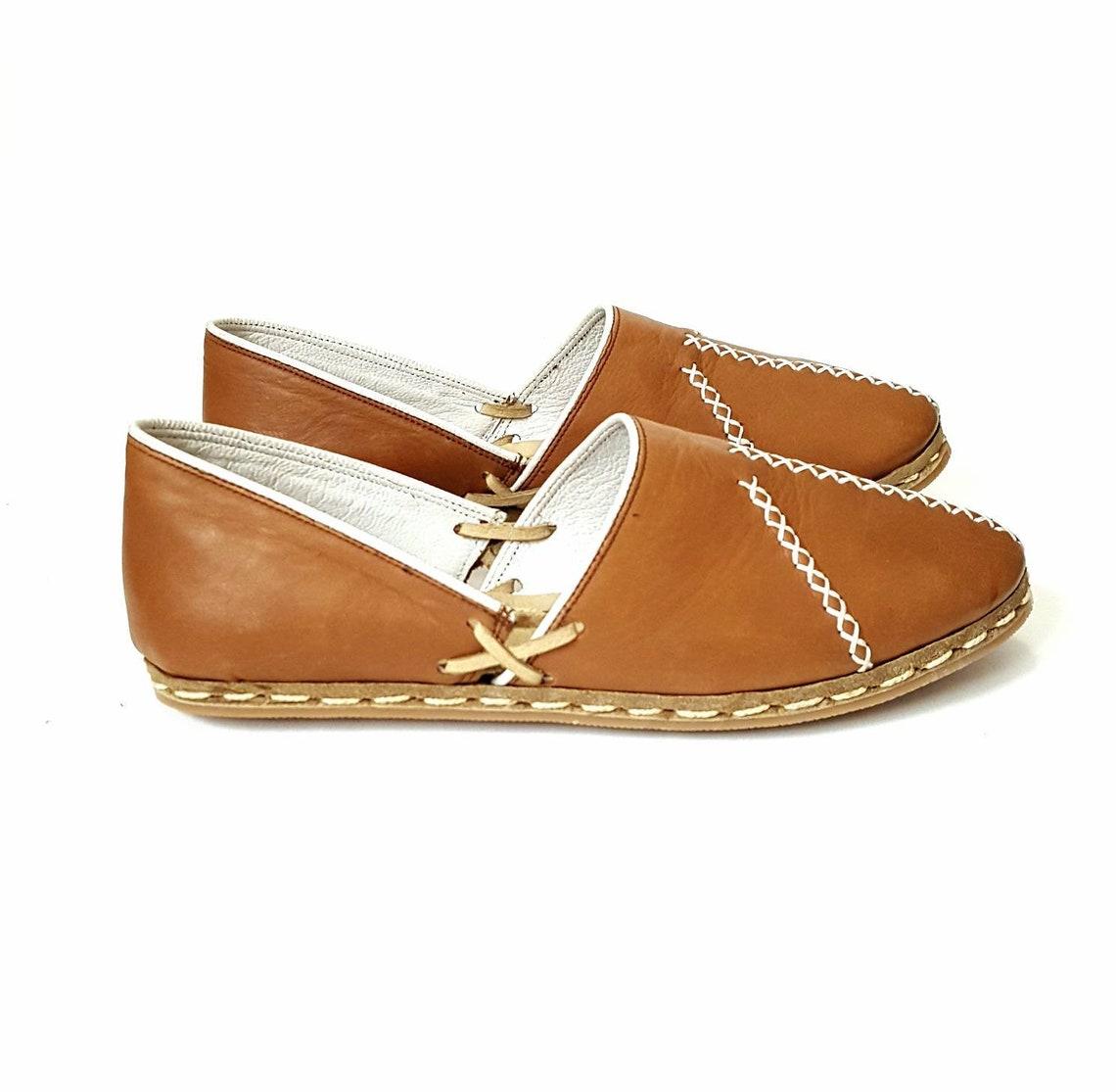 In Stock Handmade Tobacco  Organic Dye 100% Leather Flat Slip Ons Women Loafers Classic Lu Earthing Grounding Shoes