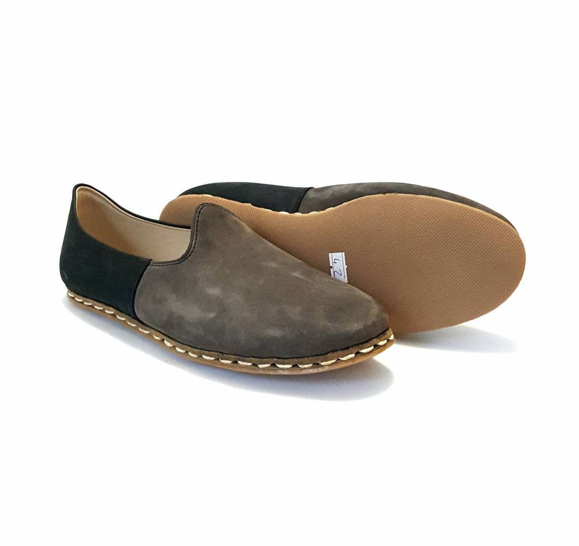 Closeout In Stock Handmade Two Tone Black Dark Gray Organic Dye 100% Leather Flat Slip Ons Men Loafers Emir Classic Earthing Grounding Shoes