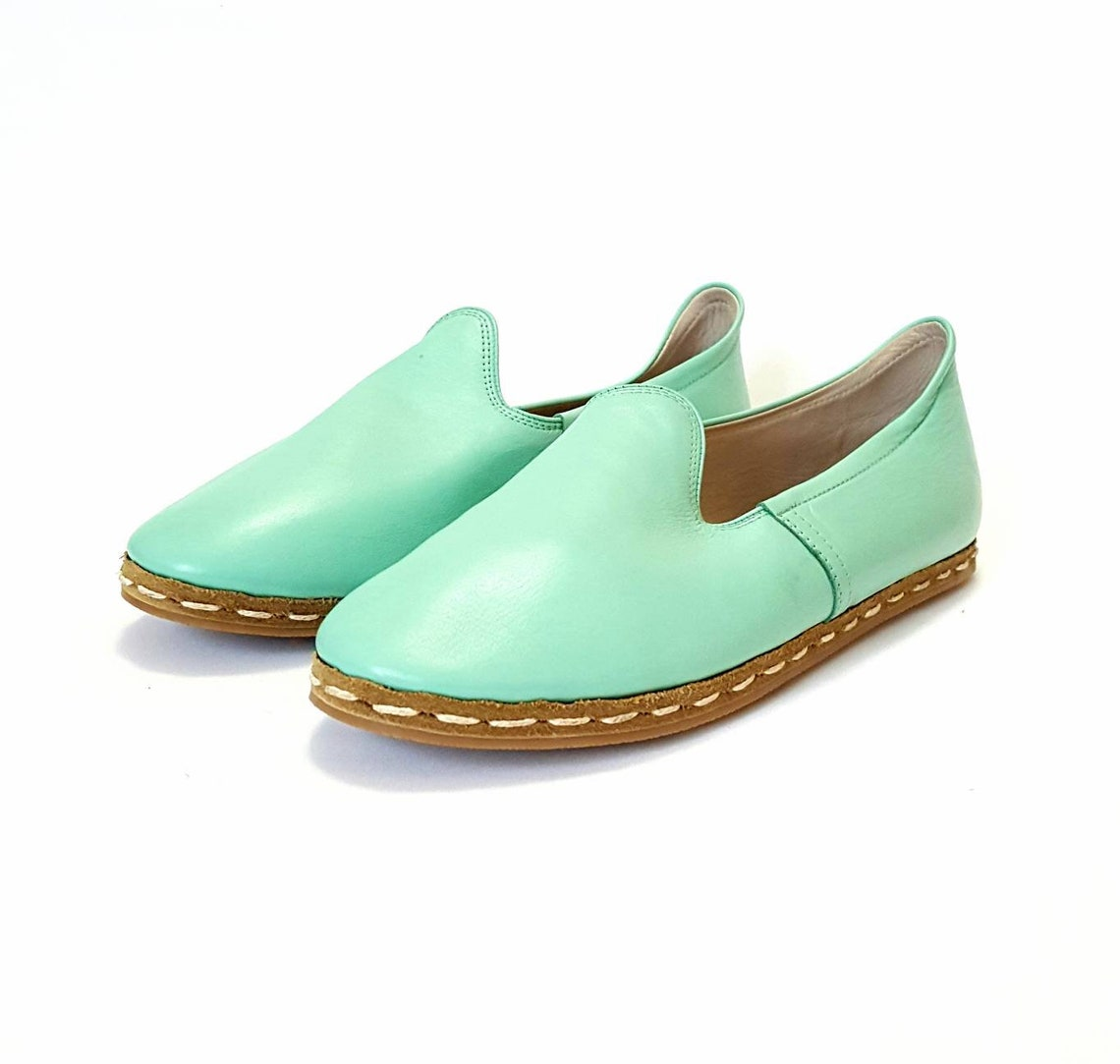 Closeout In Stock Handmade  Green Organic Dye 100% Leather Flat Slip Ons Men Loafers Emir Classic Earthing Grounding Shoes
