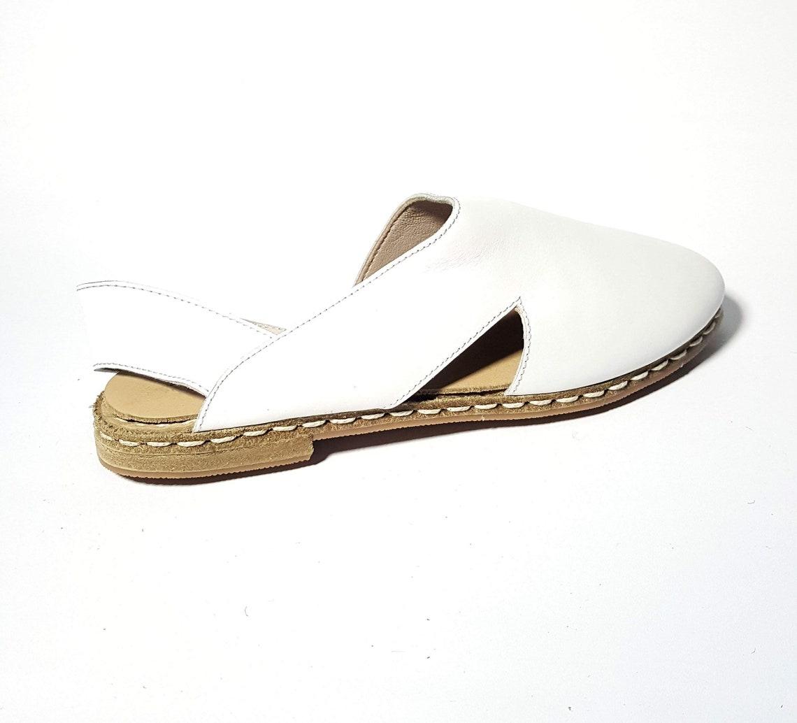 In Stock Item Women's  Handmade White Flat Sandals Organic Dye 100% Leather Flat Slip Ons Women Loafers Earthing Grounding Shoes