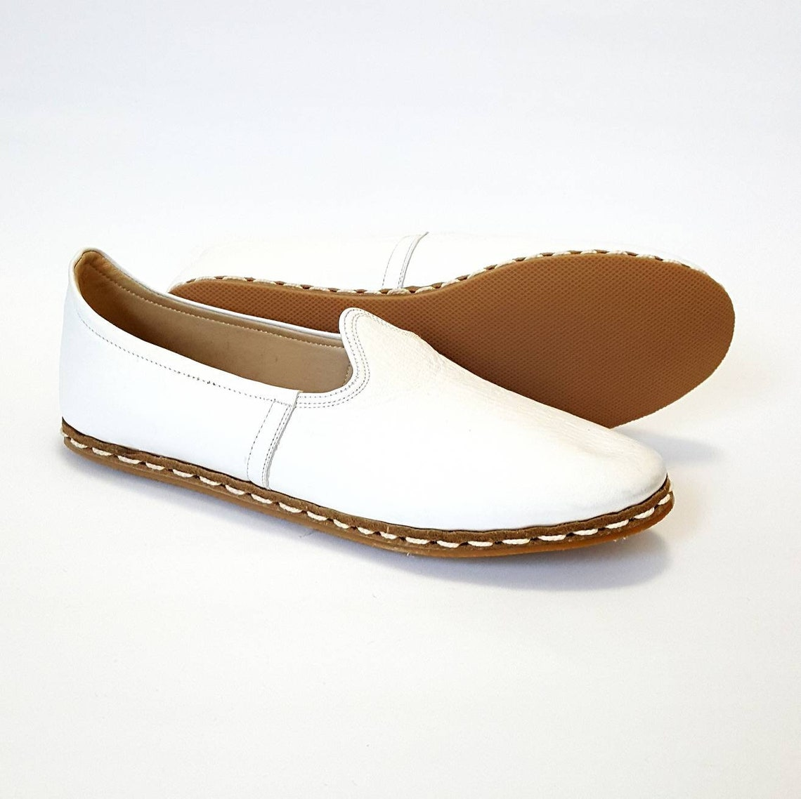 Closeout In Stock Handmade White Organic Dye 100% Leather Flat Slip Ons Women Loafers  Earthing Grounding Shoes